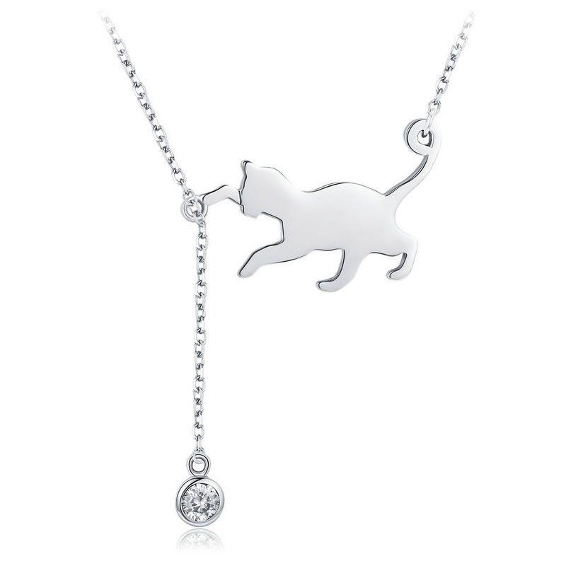 Pandantiv cu Lantisor din Argint Playful Kitten