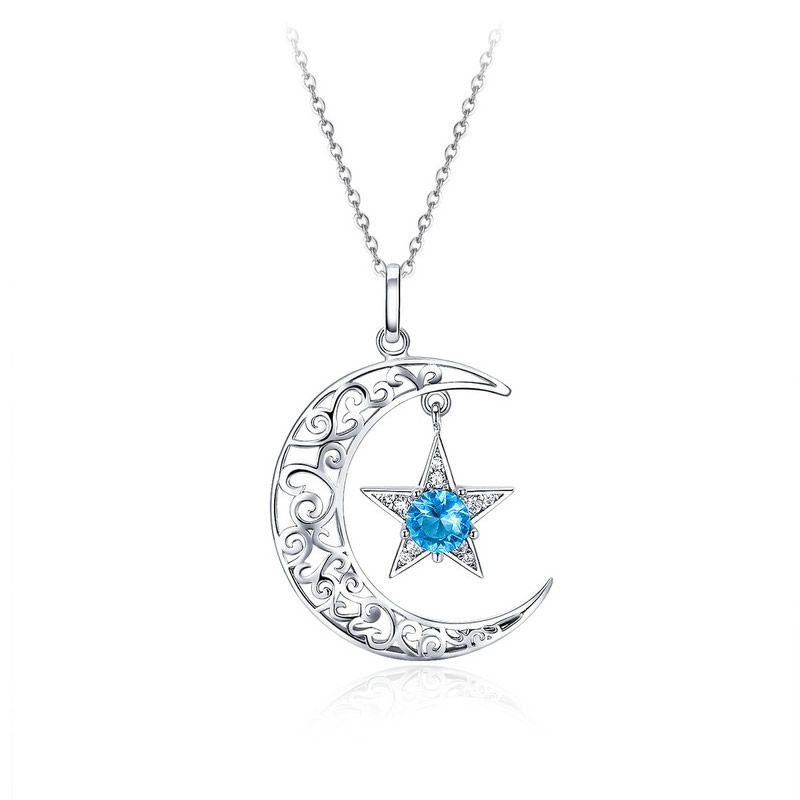 Pandantiv cu Lantisor din Argint Starry Sky